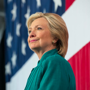 Former First Lady and a presidential (D) candidate, Hillary Clinton.