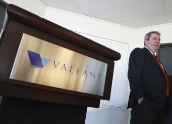 J. Michael Pearson, Chairman of the board and Chief Executive Officer of Valeant Pharmaceuticals International Inc., waits for the start of their annual general meeting in Laval, Quebec