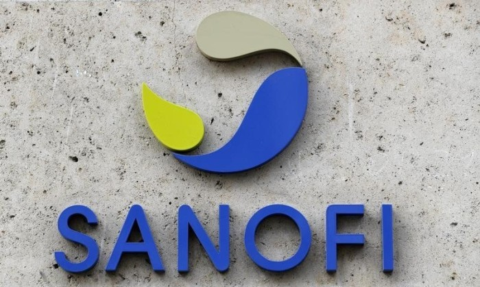 French multinational pharmaceutical company SANOFI logo seen at their headquater in Paris